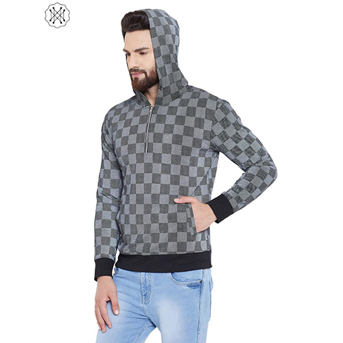 Black colored Checkered Full Sleeves Hooded T-Shirt