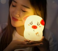 Novelty Silicone Piglet Night Light for Kids
