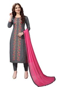 Gray embroidered salwar suit