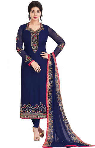 embroidered georgette unstitched salwar suit in navy blue