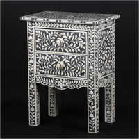 Bone Inlay 2 Drawer Bedside Table