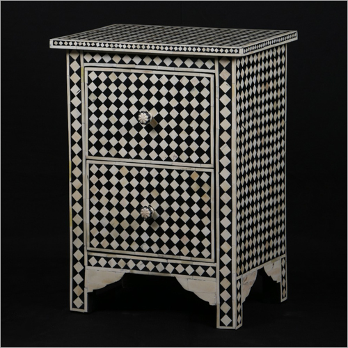 Mother Of Pearl Inlay 2 Drawer Side Table