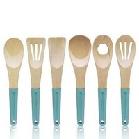 6pcs nature wood kitchen utensil set with silicone handle KC-106
