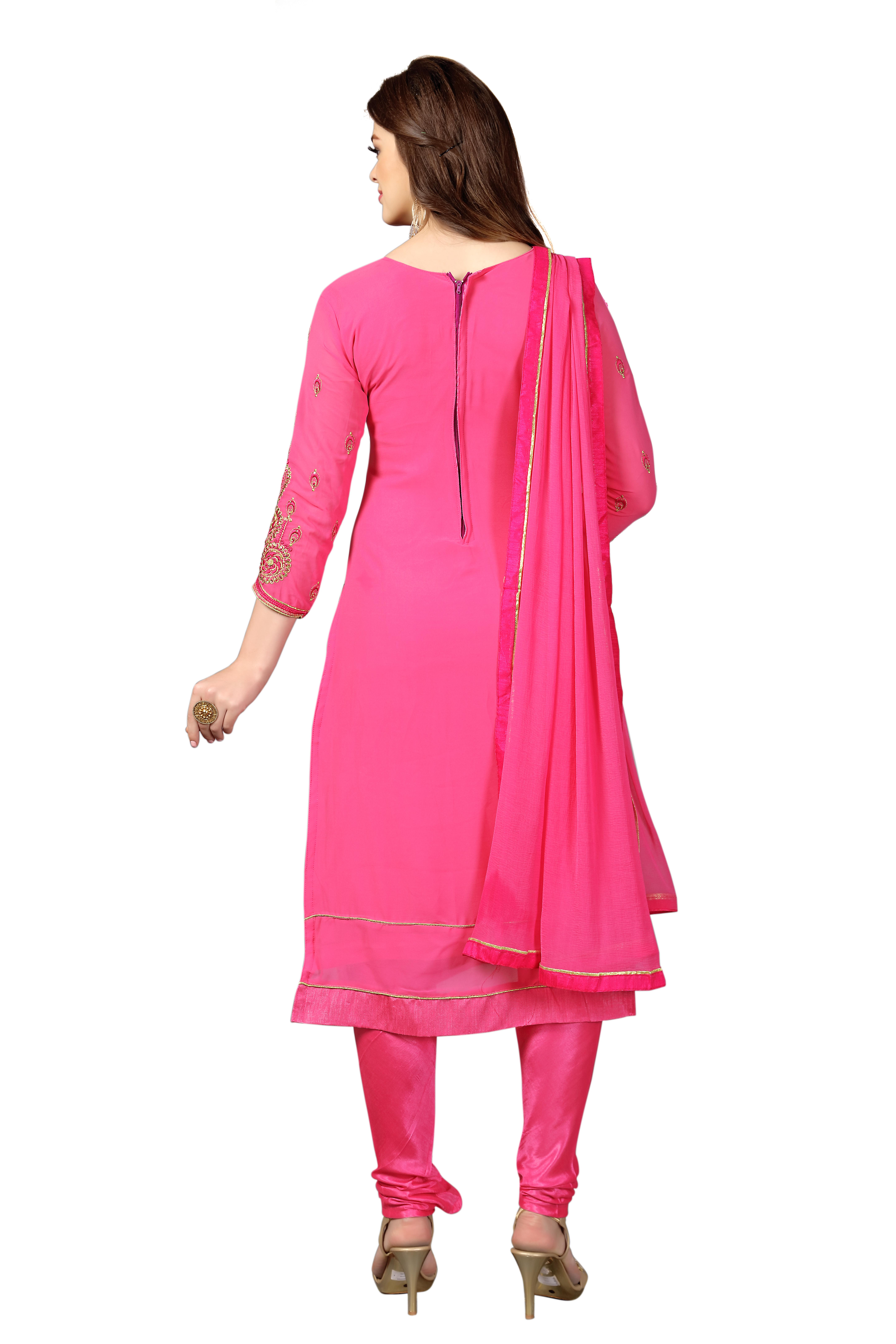 floral embroidered Georgette unstitched salwar suit In Pink