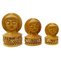 Woodeh Buddha Head Under Cut Home Decoretiv Showpice Set of 3pic