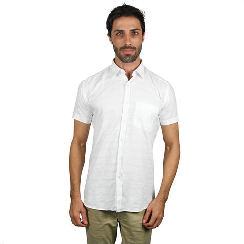 Mens Half Sleeve White Shirt