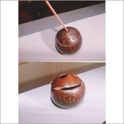Coconut Shell Mug with Lid and Straw