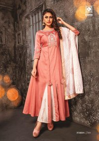 Fancy Chanderi Long Kurti With Embroidery Work With Dupatta Block Print