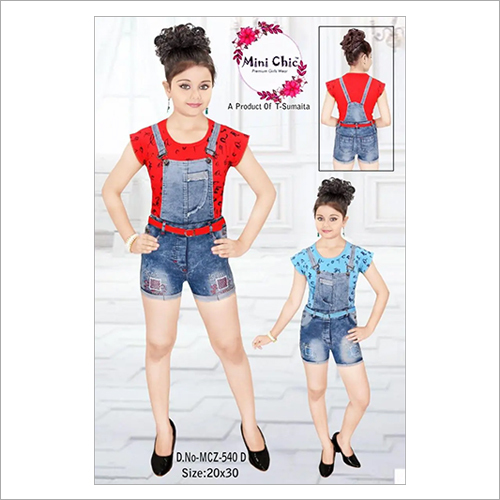 Girls Denim Suspender Shorts Pants