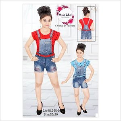 Girls Denim Suspender Shorts Pants