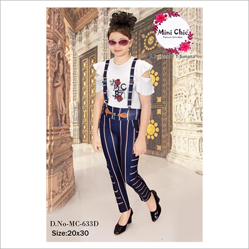 Girls Party Wear Suspender Pants