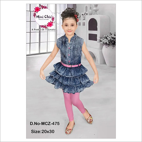 Party Wear Denim Frock With Legging