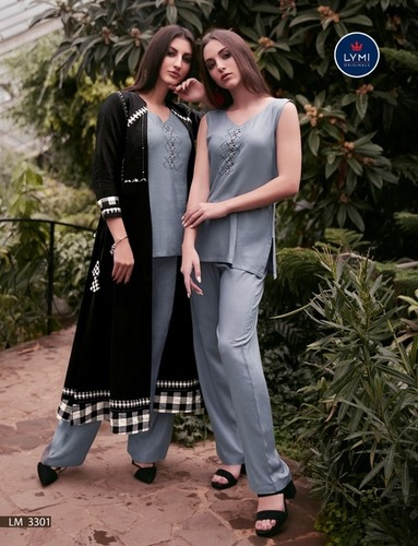 Rayon Kurti Fancy 3 Piece Attire with Shrug