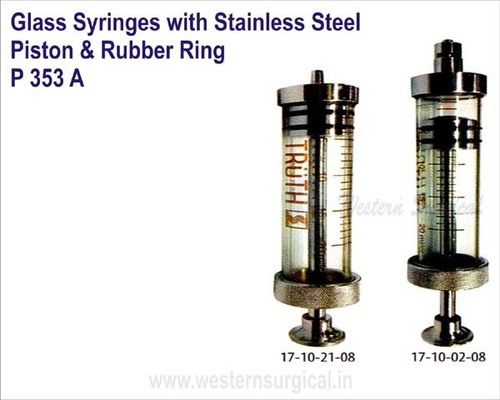 Glass Syringes with Stainless Steel Piston & Rubber Ring