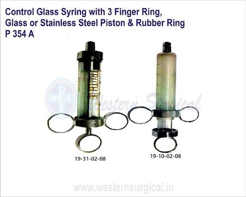 Control Glass Syring with 3 Finger Ring, Glass or Stainless Steel Piston & Rubber