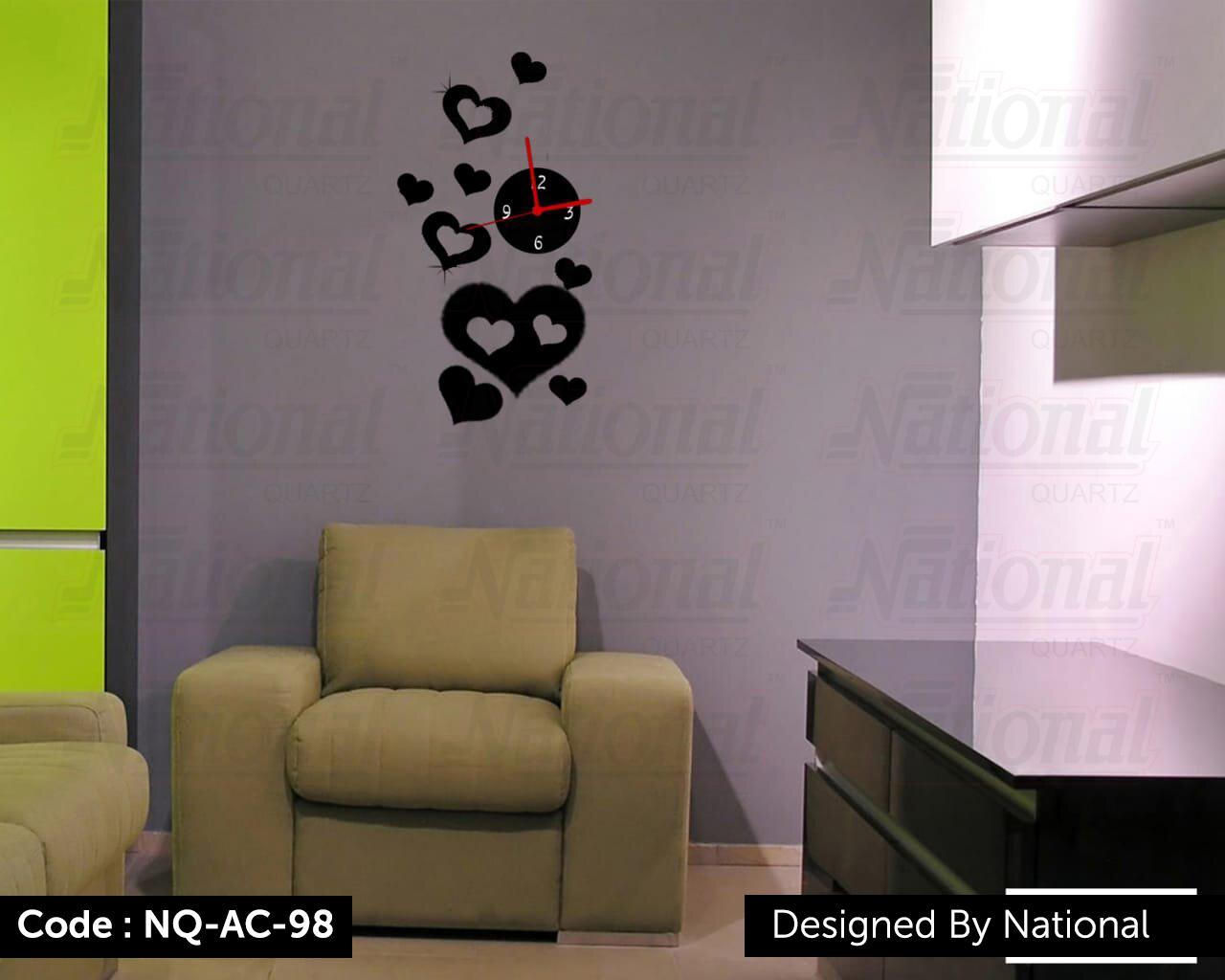 Heart shape acrylic wall clock