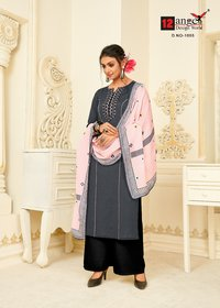COTTON FLAX EMBROIDER MUSLIN DUPATTA REYON PLAZZO