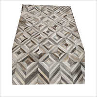 Leather Geometric Pattern Handmade Carpet