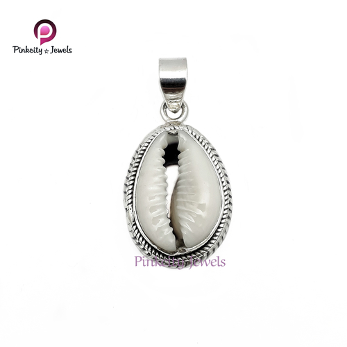 Natural Sea Shell 925 Silver Pendant