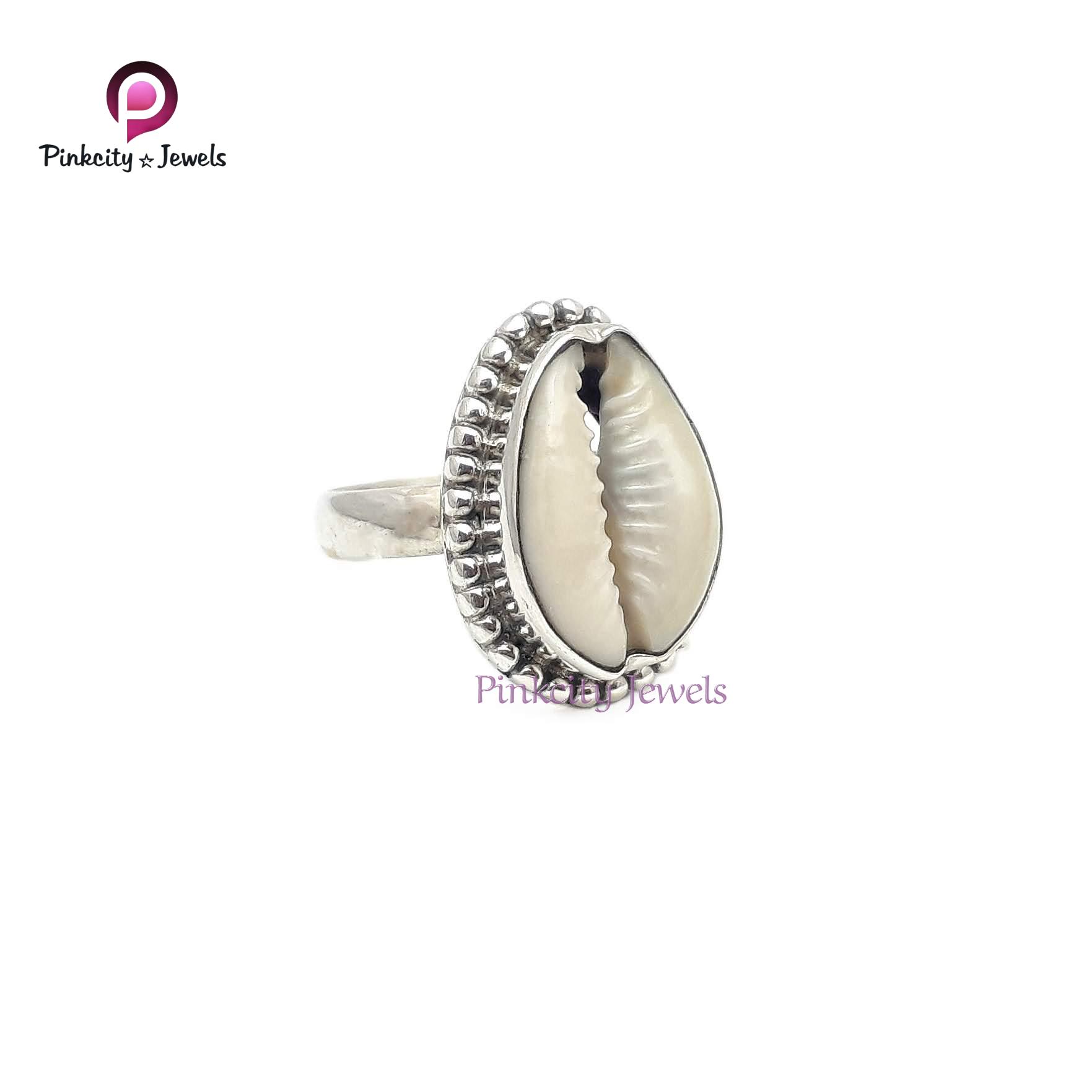 Natural Sea Shell Gemstone 925 Silver Ring