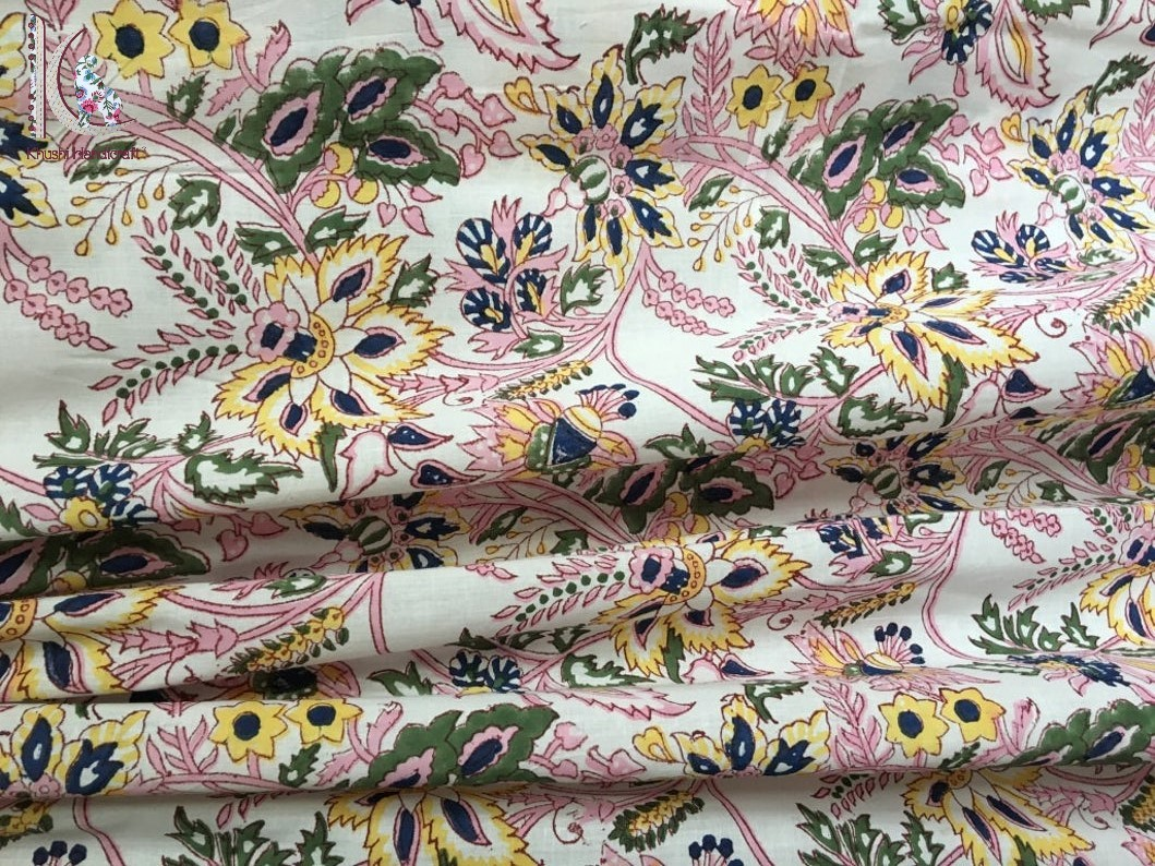 Hand Block Floral Print Cotton Fabric