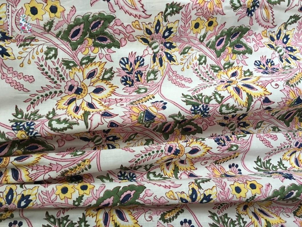 Hand Block Floral Print Cotton Fabric