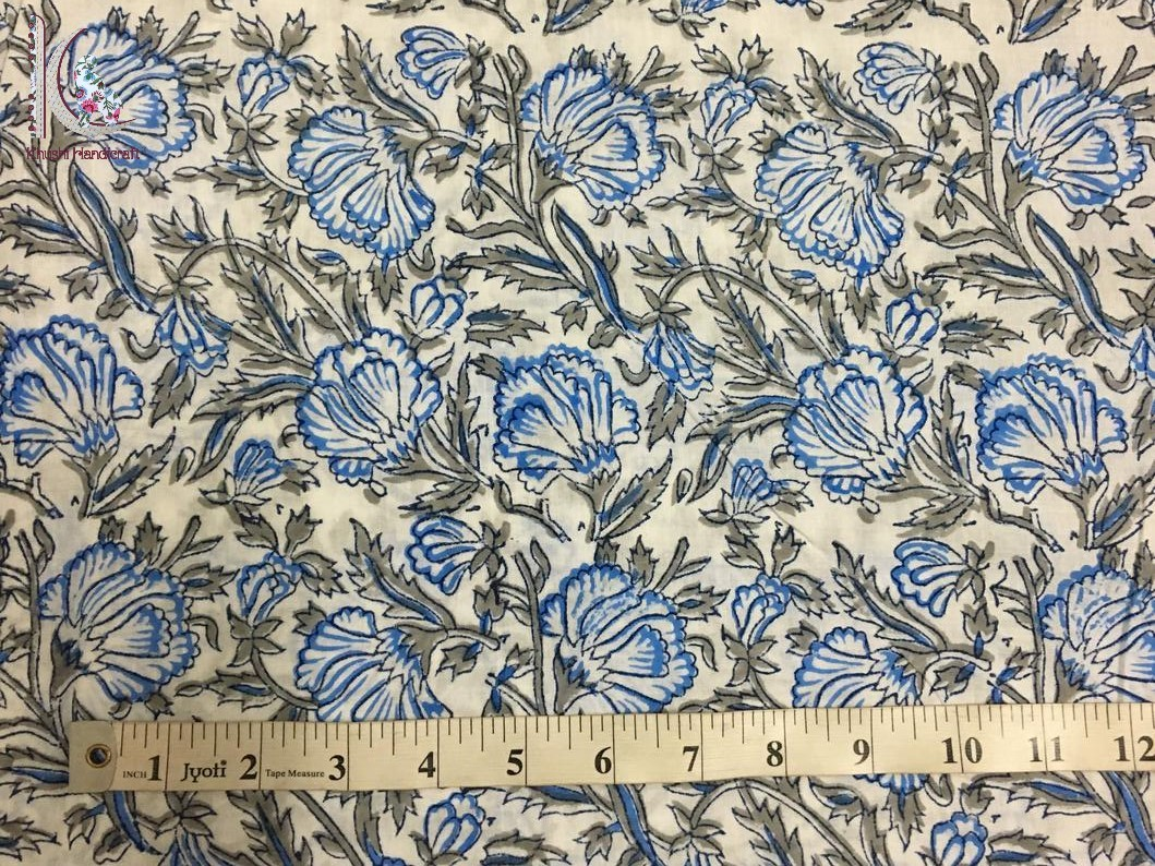 Hand Block Printed Floral Print Fabric