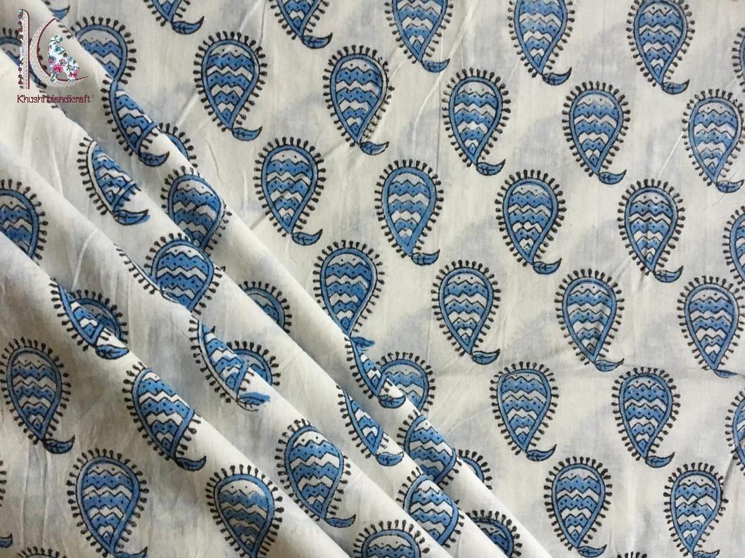 Block Printed Paisley Print Fabric
