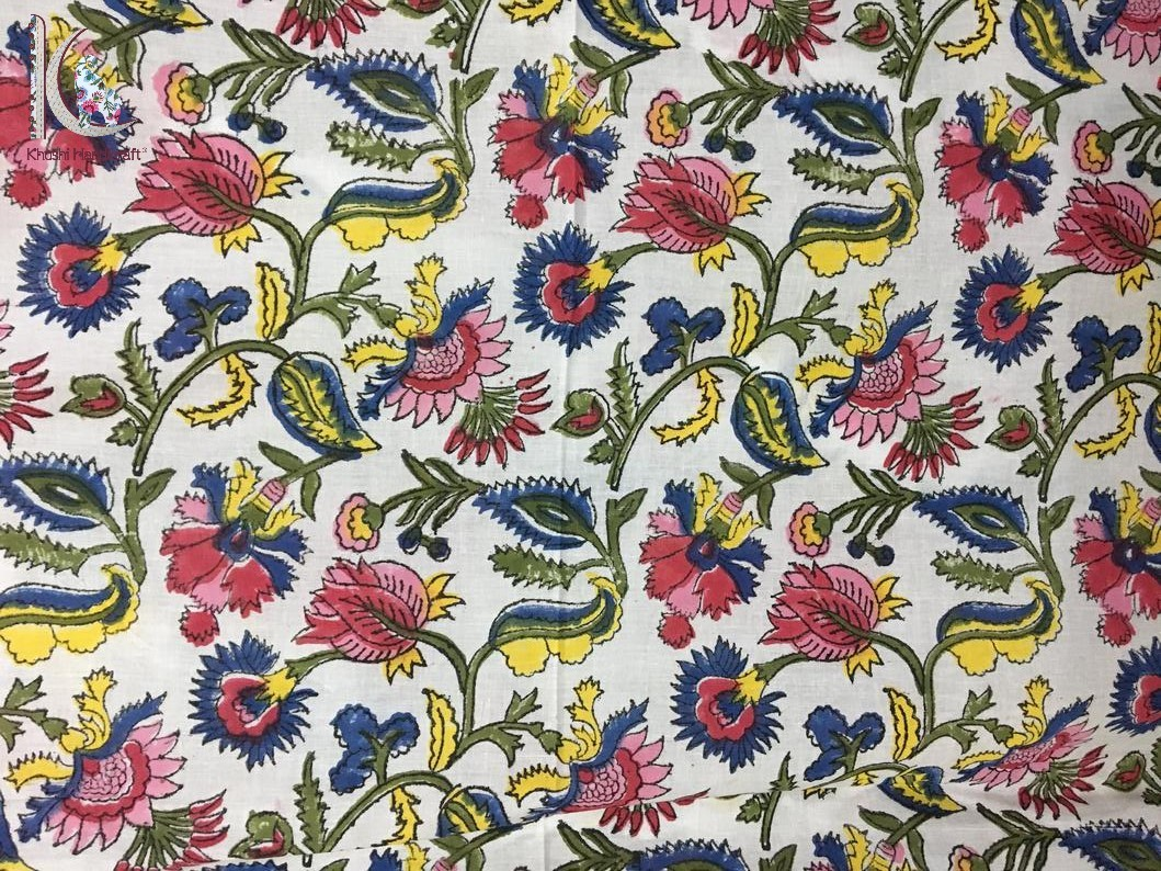Hand Block Floral Printed Cotton Fabric