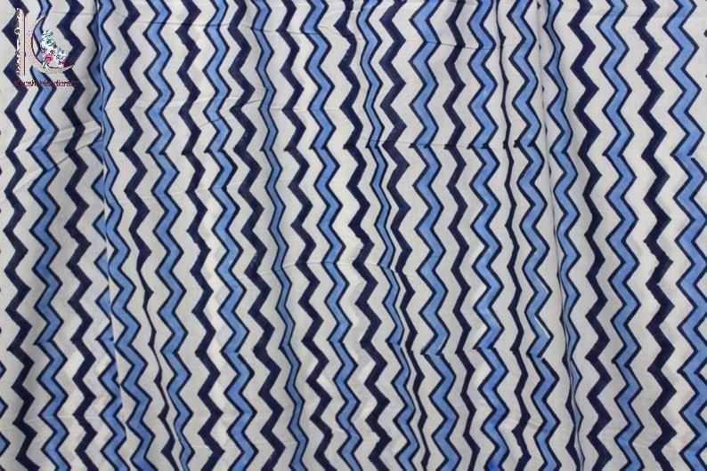 Zig Zag Print Cotton Fabric