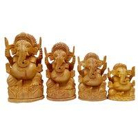 Wooden Ganesh  Round Set of 4 pcs