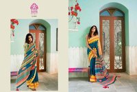 Linen Chanderi Silk Saree