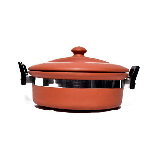 2 Ltr Terracotta Clay Kadai With Lid