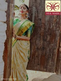 Pure Kanjivarm Brocade All Self Silk White with Green Combination