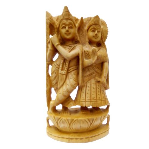 Wooden Radha Krishana in Fine Work Art by Apnoghar 15cm