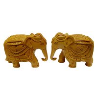 Pure Wooden Material Elephant Carving Set of2 pcs Trunk Dawun in fine Finishing ATR by Apnoghar 7.5cm