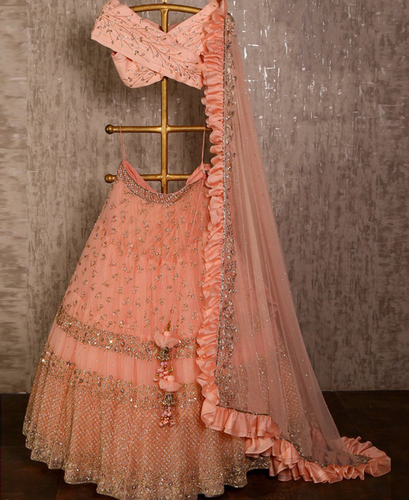 Classy Peach Net Sequence Embroidered Ruffle Lehenga