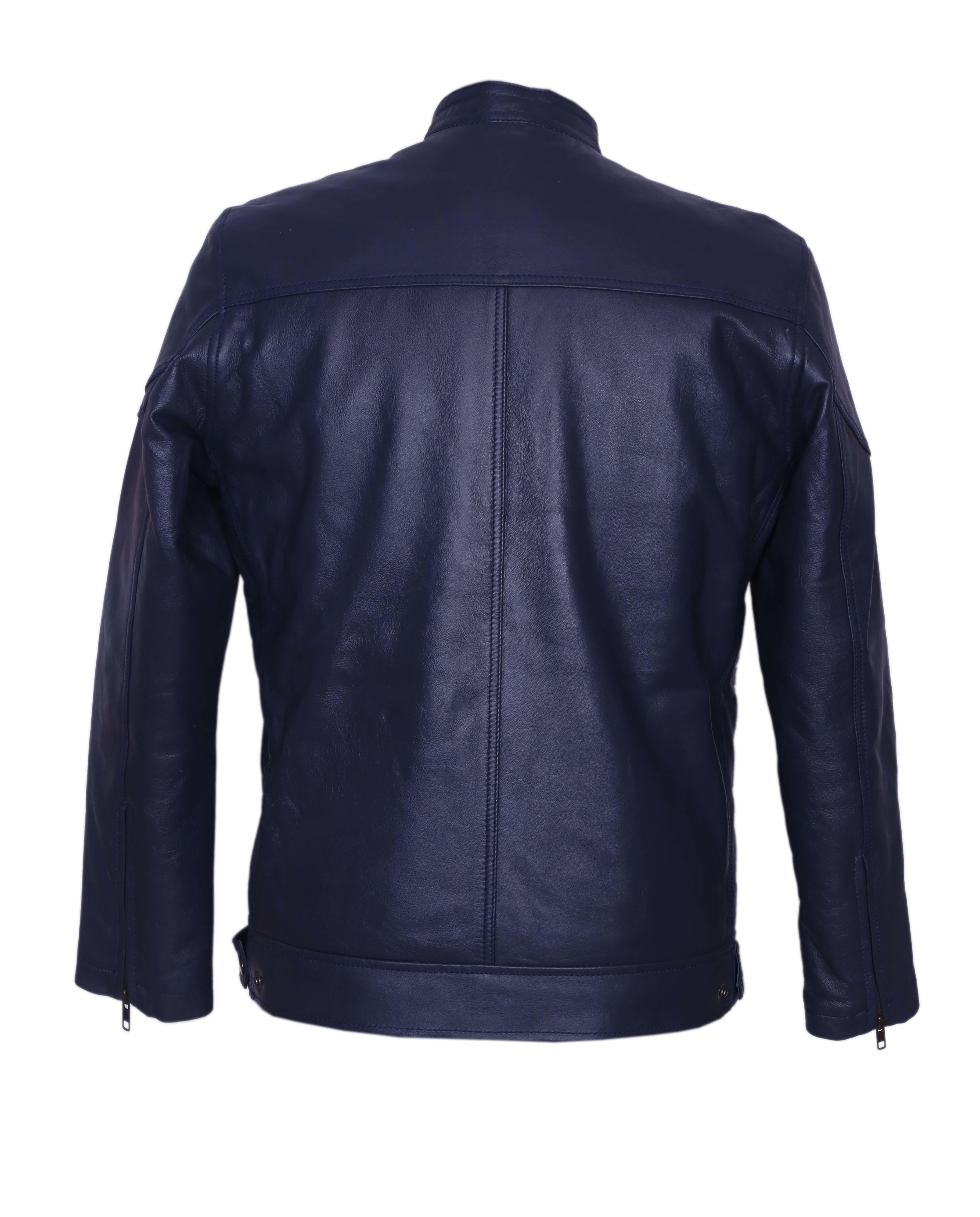 Men Blue Leather Jacket