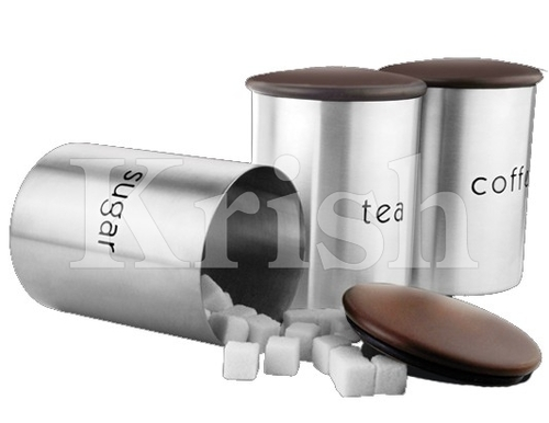 Wooden Air Tight Lid Canister T/S/C