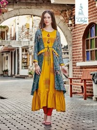Ladies Rayon Print Kurtis Separate Inner With Jacket