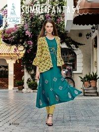 Ladies Rayon Print Kurtis Separate Inner With Jacket