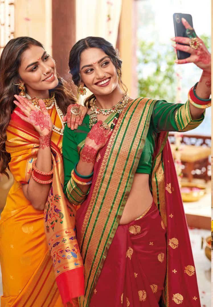 Designer Cotton Silk Saree, Partywear Saree, Soft Satin Silk Saree