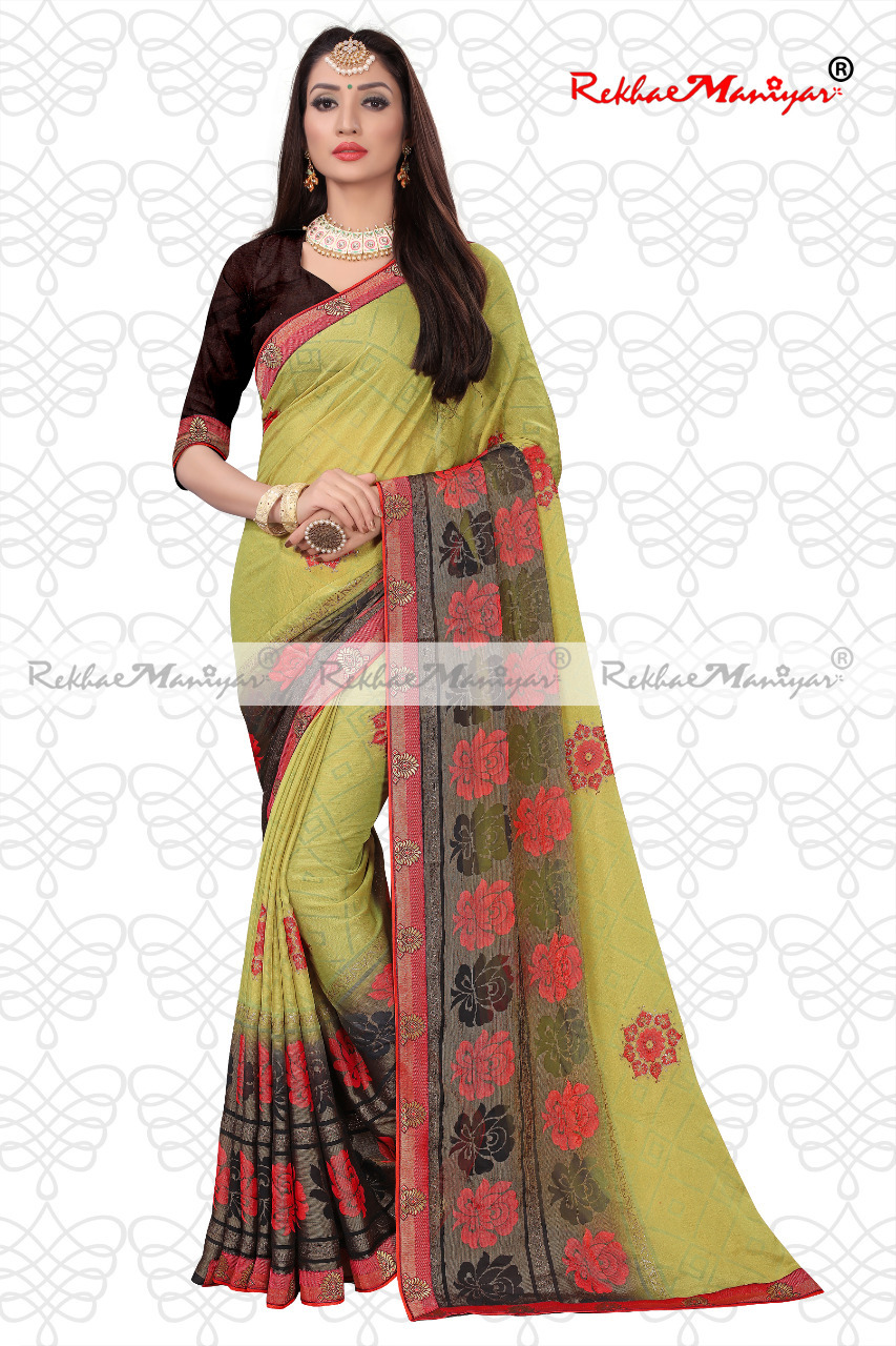 Art silk brasso printed saree with unstitched blouse