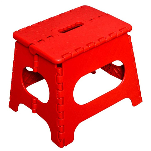 Red Plastic Folding Stool