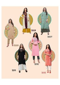 Rayon,Cotton Flex Fancy Kurtis With Shrug ,Plazzo & Pant Pair
