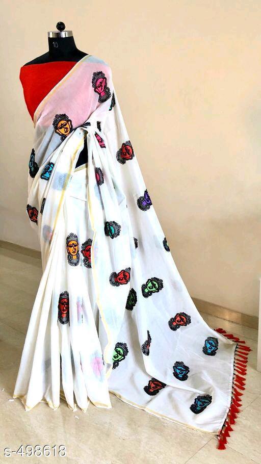 Chanderi Cotton Embroidery Saree