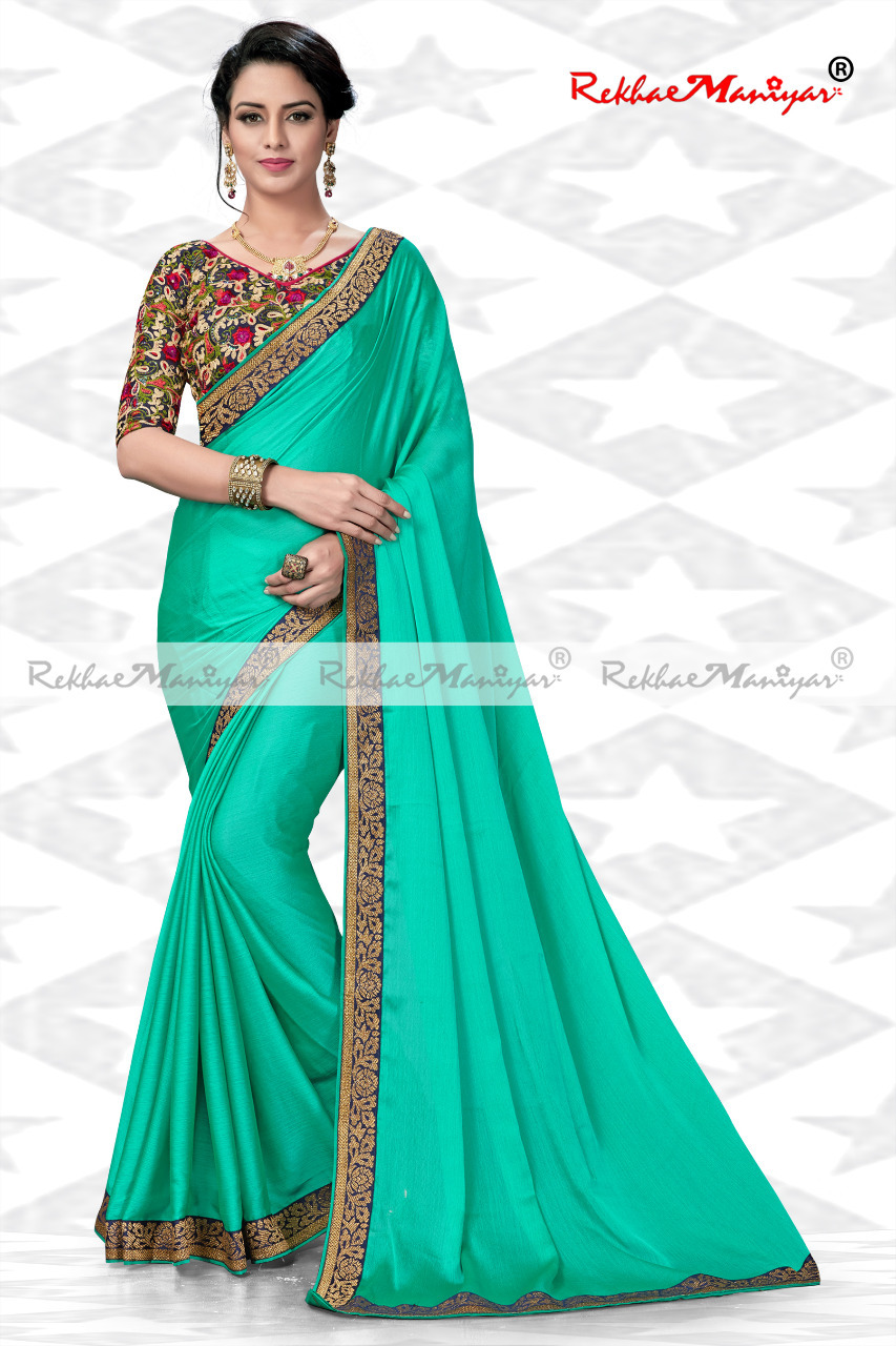 Silk Chiffon Two Tone Borders Sarees With Designer Blouse