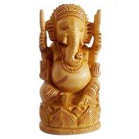 Wooden Ganesh Open 10cm in Fine Work Art by Apnoghar