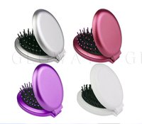 Plastic Handle Cheap Plastic Hair Brush with Mirror