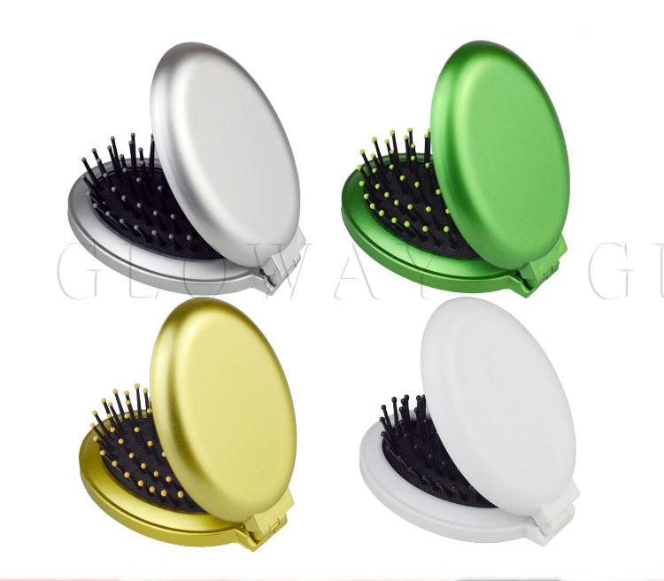 Plastic Handle Cheap Plastic Hair Brush with Mirror